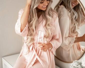 Satin Bridesmaid Robe Set of 6, 7, 8 - YOU CHOOSE QTY Satin Robes for Bridesmaids Satin Robes for Women (EB3260M) Lace Bridesmaid Robes