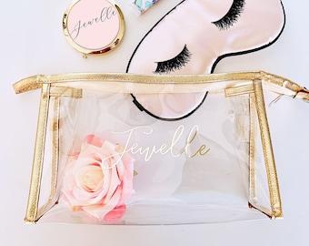 Bridesmaid Make Up Bags - Monogrammed Cosmetic Bag - Personalized Makeup Bag - Unique Bridesmaid Gift Ideas (EB3167) Gold Makeup Bags