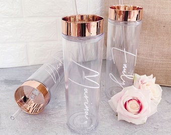 Rose Gold Tumbler with Straw Personalized Bridesmaid Tumblers Set of 5, 7, 4, 8, 6, 9 - choose ANY qty - Personalized Gifts (EB3113ANS)
