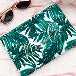 Palm Leaf Makeup Bag | Palm Leaf Bachelorette | Tropical Bachelorette Party Favors Tropical Bridesmaid Gifts Beach Bachelorette (EB3302PLM)