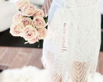 54249c86cc Bride Robe Lace Bridal Robe Personalized Bride Robe Regular and Plus Size Bridal  Robe Full Lace Robe Bride Gift (EB3321P)