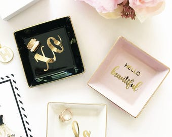 Trinket Dish Ring Holder Jewelry Dish Ring Dish Hello Beautiful Birthday Gifts for Best Friend Gift Gift Ideas (EB3180T)