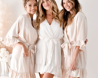 Ruffled Bridesmaid Robes for Bridal Party Personalized Robes with Names Satin Bride & Bridesmaid Getting Ready Robes Custom (EB3377P)