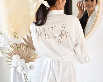 Bride Robe Personalized Bride Gift Bridal Shower Gift Unique Wedding Day Robe for Bride Custom Mrs Robe Ruffle Robes (EB3377P)