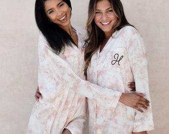 Tie Dye Sleep Shirts for Women Monogrammed Pajamas for Bridesmaid Pajamas Getting Ready Pj's  (EB3391M)