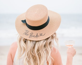 Bride Hat Bridal Shower Hat Picnic Hat for Bride to Be Beach Hat Personalized Bride Hat Custom Personalized Beach Hat (EB3333P)