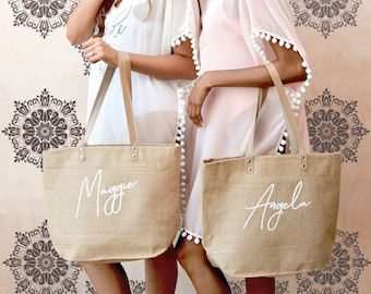 Bridesmaid Personalised White Tote Bag Wedding Gift Add Name /& Date Marriage