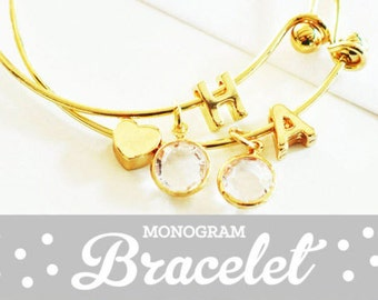 Monogram Bracelet Gold Bridal Party Jewelry Monogram Bangle Bracelet Initial Bangle Bracelet (EB3144) Initial Bracelet Gold