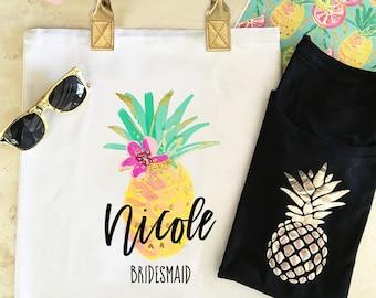 Pineapple Tote Bags Aloha Pineapple Bachelorette Party Bags Tropical Bachelorette Party Bag Aloha Pineapple Aloha Tote Aloha Bag (EB3162TPB)