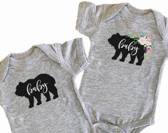 Baby Bear Bodysuit Baby Bear Outfit Bodysuit Baby Bear Shirt Rustic Baby Clothes Baby Bodysuit Baby Boy Baby Girl (EB3168RTB) BODYSUIT ONLY