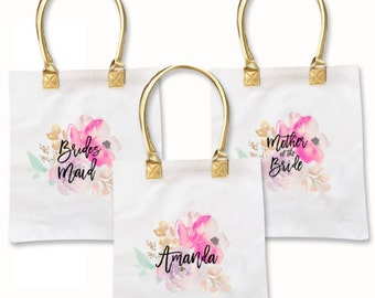 Maid of Honor Tote Bags Bachelorette Party Totes Floral Bridesmaid Bags Tropical Bachelorette Bags Maid of Honor Gift Ideas (EB3162BPW)