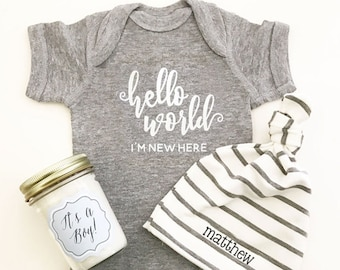 Baby Boy Coming Home Outfit - Baby Boy Clothes - Baby Shower Gift Boy Bodysuit Hello World Newborn Outfit Boy (EB3168HLW) - BODYSUIT ONLY