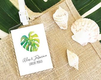 palm leaf favors tropical wedding favors destination wedding favors luggage tag favors tropical bridal shower favors eb2151tpb 12 pcs