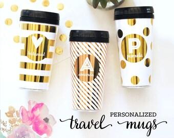 Personalized Travel Mug - Travel Coffee Mug - Travel Tumbler - Custom Travel Mug Coffee Tumbler Coffee Cup Gold Travel Mug  (EB3135)