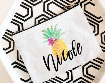 Pineapple Bag | Pineapple Makeup Bag | Pineapple Bachelorette | Pineapple Favor Bag | Pineapple Tote (EB3222TPB)