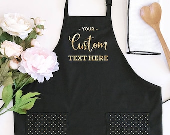 Personalized Apron for Womens Aprons Personalized Custom Aprons for Women Aprons with Pockets Hostess Gift Ideas Baking Gifts (EB3242CTW)