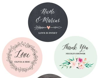 Wedding Favor Stickers Thank You Stickers Wedding Favor Stickers Floral Wedding Labels Personalized Labels (EB4007GDN-MP) - 24| STICKERS
