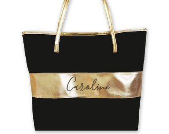 Black and Gold Tote Bag Black and Gold Gold Bridesmaid Gift Bags Black and Gold Gold Bridesmaid Tote Bags (EB3175P)