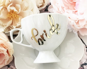 Bride Tea Cup - Custom Tea Cup - Bride to Be Tea Cup - Bridal Shower Tea Party Favors - Personalized Teacup and Saucer (EB3263P)