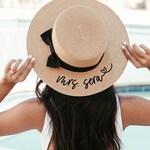 Bride Hat Honeymoon Beach Hat Personalized Bride Hat Boater Hat with Name Custom Personalized Beach Hat Honeymoon Gift for Bride (EB3333P)