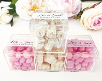 Small Favor Boxes Wedding Favor Boxes and Labels Candy Boxes for Favors  Personalized Favor Boxes Clear Favor Boxes - 12 2b0bc5cdba167
