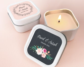 Personalised Candle Tealight Wedding Favours  Shimmer Effect Any Colour Set 15