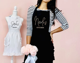 Embroidered White Apron; Personalize Holidays Christmas Mexican Chefs Do It Better saying Hostess Gift