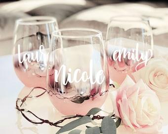 Personalized Stemless Bridesmaid Glasses ROSE GOLD Wine Glasses Personalized Bridesmaid Wine Glasses (EB3308P-RSG)