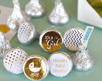 Baby Shower Hershey® Kiss Sticker Kiss Labels Personalized Hersheys® Kisses Candy Kiss Stickers for Kisses (EB4003FB) 108 PRINTED labels