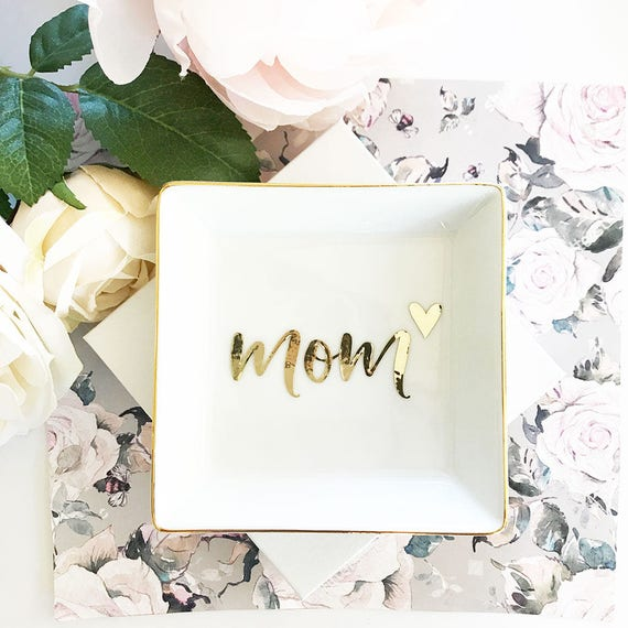 Mom Gift Jewelry Dish Birthday For Mothers Day From Son Christmas Gifts EB3180MOM Monogram Ring
