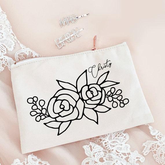 Floral Makeup Bag Personalized Make Up Bag Cosmetic Bag Etsy