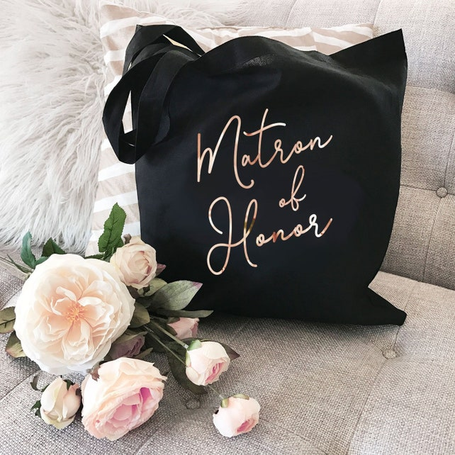 Matron of Honor Tote Bag - Matron of Honor Gift Bag - Matron of Honor Bag - Matron of Honor Totes - Bridal Party Totes (EB3216WD)