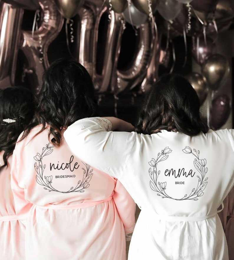 Bridesmaid Robe Personalized with Name & Title Bridesmaid Robe image 0