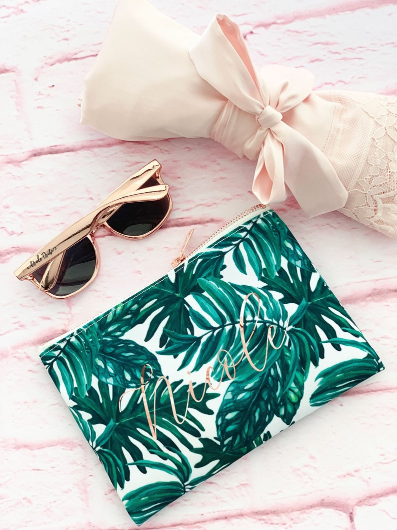 Palm Leaf Makeup Bag Palm Leaf Bachelorette Tropical image 0
