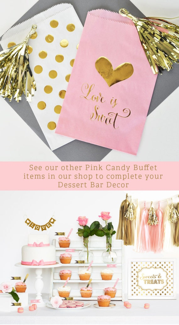 Pink And Gold Wedding Favor Bags Pink And Gold Bridal Shower Etsy