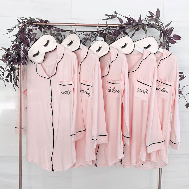 Personalized Bridesmaid Pajamas Personalized Sleep Shirts image 0