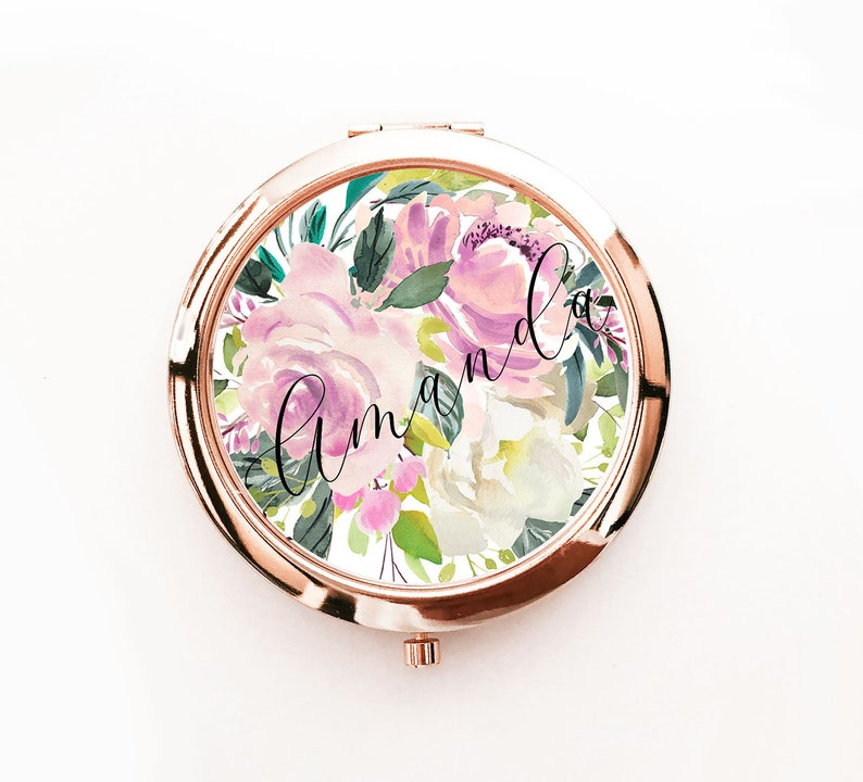 Floral Bridesmaid Gift Personalized Mirror Compacts Women image 0