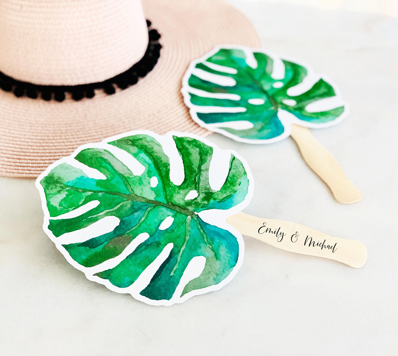 Wedding Fan Personalized Fan Palm Leaf Fan Beach Wedding Etsy