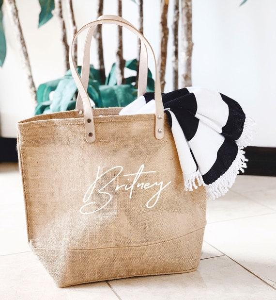 Beach Bag Personalized Burlap Bags Large Beach Tote Bags Bridesmaid Beach Bag Gift Beach Tote Bag with Name (EB3330ANS)