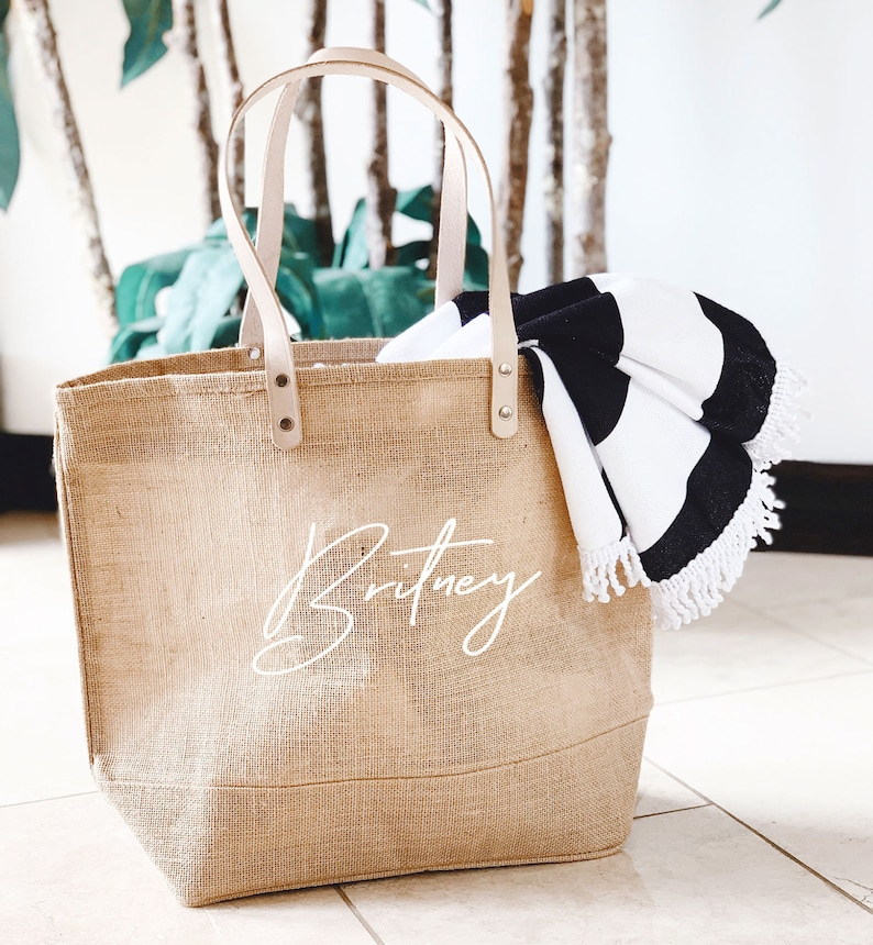 Beach Bag Personalized Burlap Bags Large Beach Tote Bags image 0