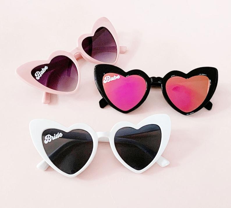 Heart Sunglasses Babe & Bride Sunglasses Bachelorette Party image 0