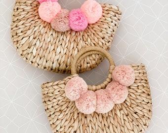 Pom Pom Purse Women Straw Purse Pink Beach Travel Vacation Bag Women Birthday Gifts for Her Beach Bag Purse Tote Bridesmaid Gift (EB3354)
