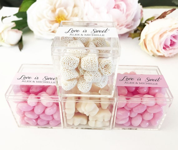 Small Favor Boxes Wedding Favor Boxes and Labels Candy Boxes for Favors Personalized Favor Boxes Clear Favor Boxes - 12| (EB3102P) set of 12