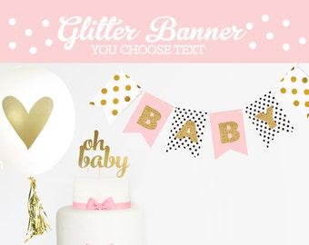 Baby Shower Banner Girl Baby Shower Banner Girl Banner Baby Shower Banner Custom Baby Shower Bunting Baby Shower Garland (EB3062)