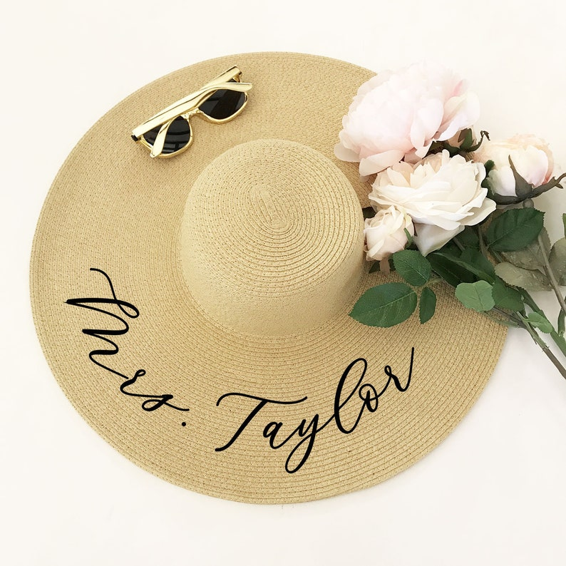 4991c21422d Floppy Beach Hat Personalized Bride Hat Floppy Hat with Name