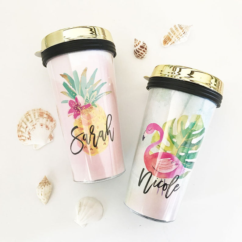 6179ecad02c Tropical Travel Mugs - Personalized Pineapple Travel Mugs - Flamingo Travel  Mugs - Beach Theme Travel Tumblers - Tropical Gifts (EB3226TPB)