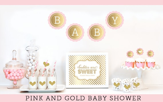 Pink And Gold Baby Shower Decor Unique Baby Shower Ideas Etsy