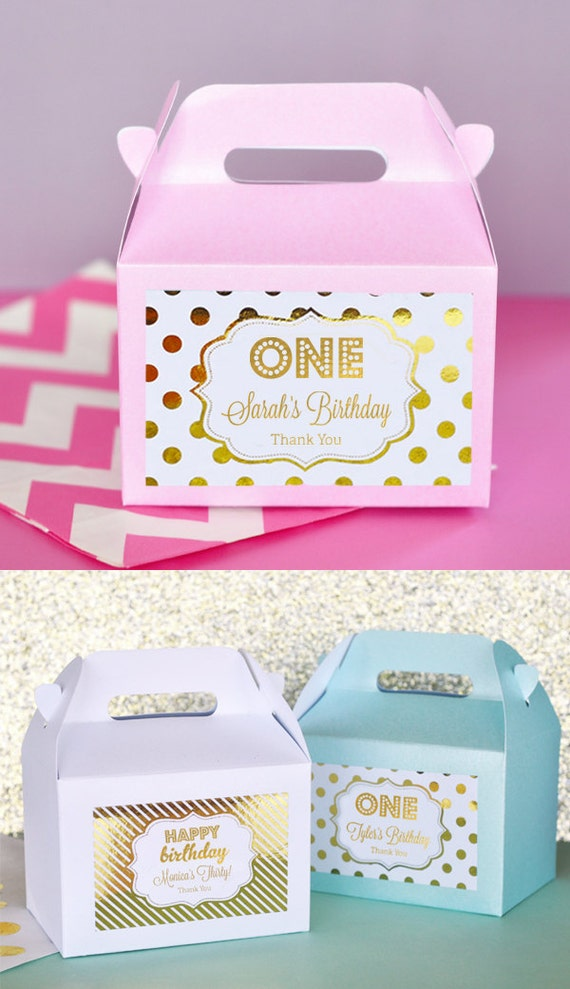 1st Birthday Party Favors Boxes Pink And Gold