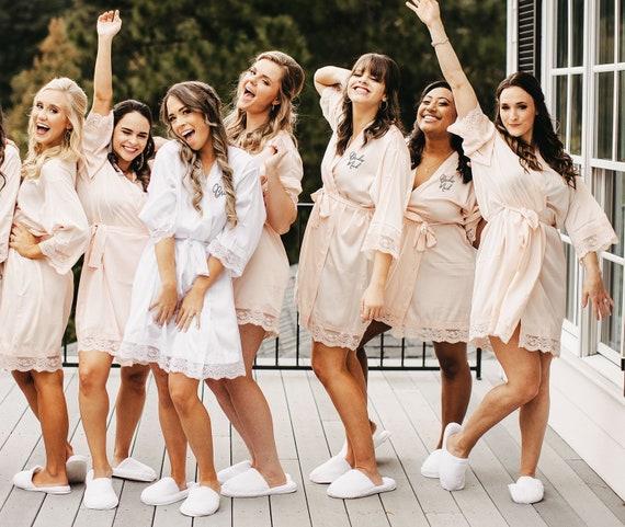 Lace Bride & Bridesmaid Robes Maid Of Honor Robe Cute
