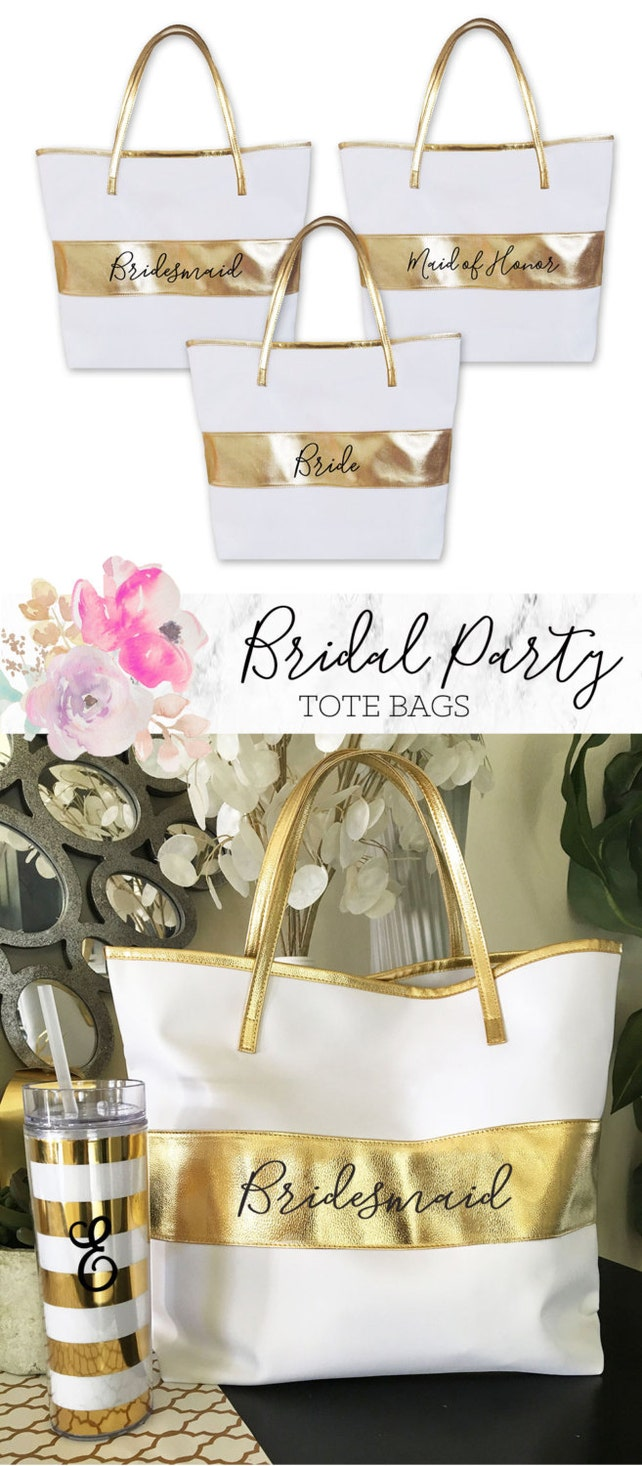 Maid of Honor Tote Bags Bridesmaid Tote Bags Bridesmaid Gift Bags Bridesmaid Gift Ideas Maid of Honor Gift Ideas (EB3175BPW)